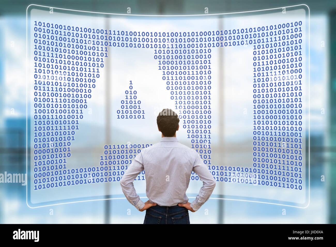 Künstliche Intelligenz Konzept mit Text AI in binären Code Matrix auf virtuellen Bildschirm und Person arbeiten mit Cyber-Technologie und Automatisierung Stockbild