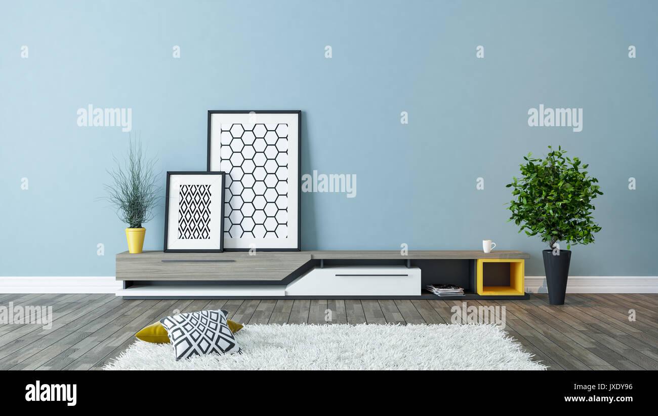 Moderne TV-Standfuß mit blauen Wand und Bilderrahmen im ...