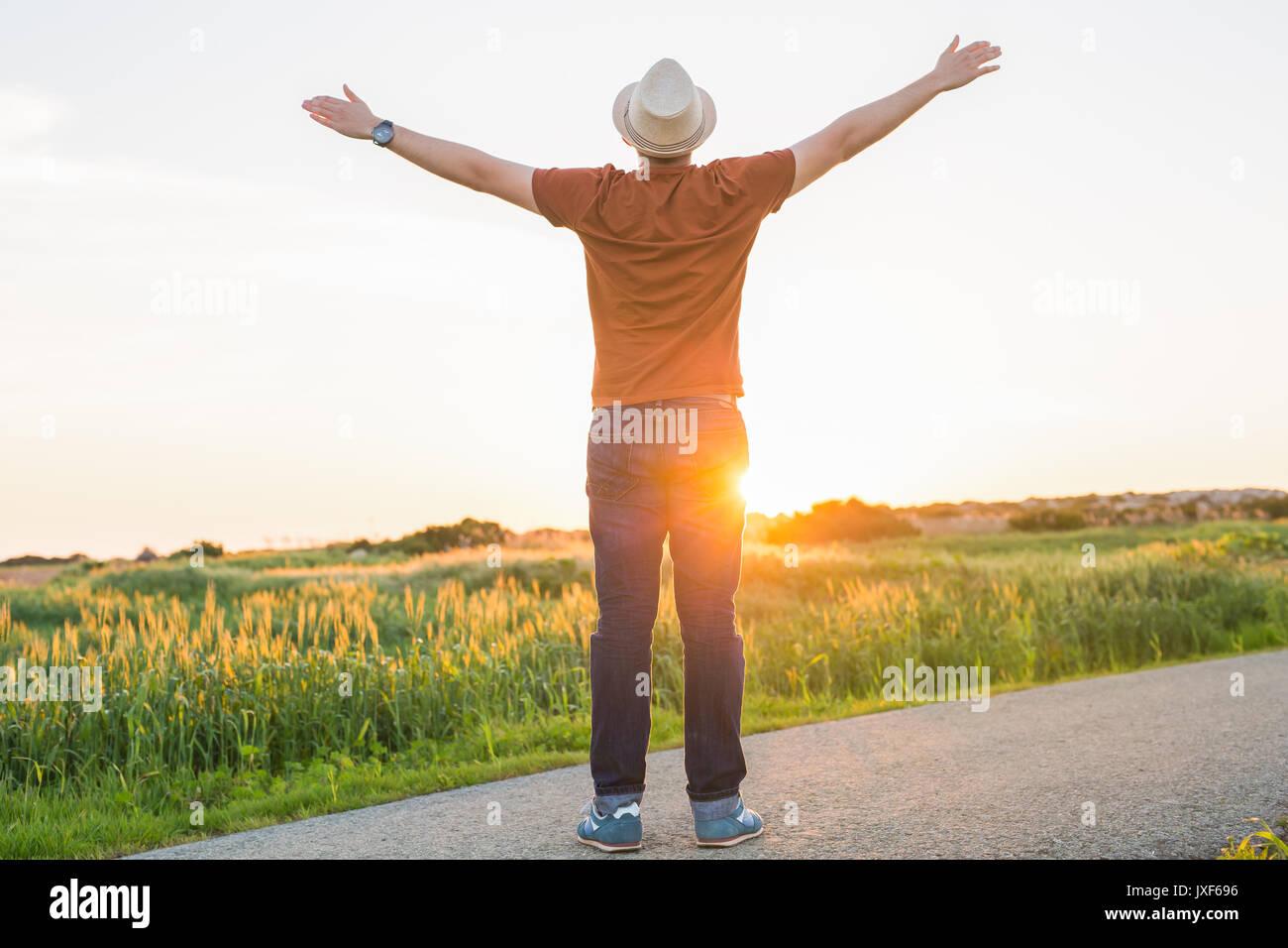 Silhouette Freiheit Mann Aufstieg Hände Hoch Guten Morgen