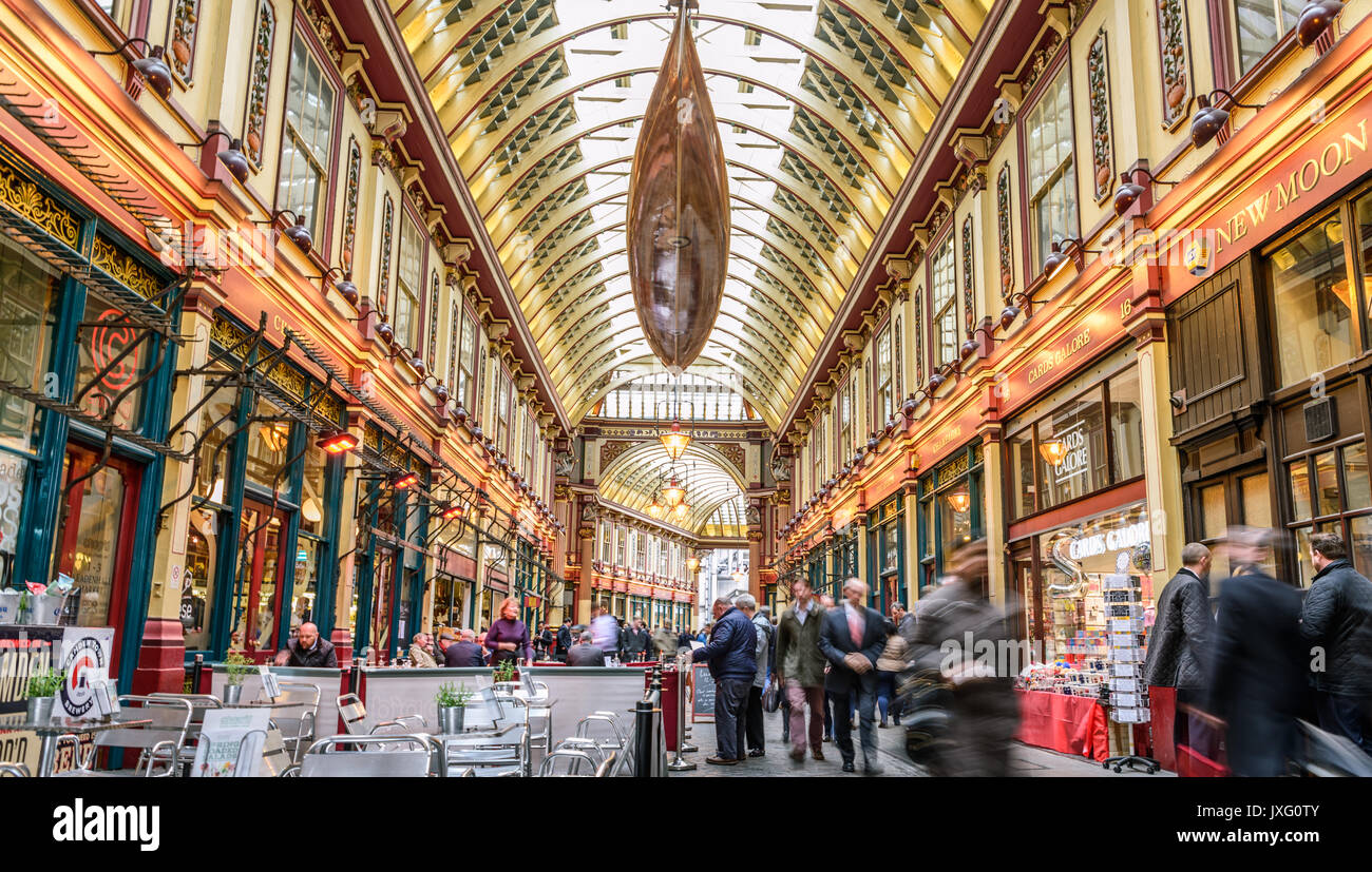 Leadenhall Market ist eine Markthalle in London, gelegen an der Gracechurch Street Stockbild
