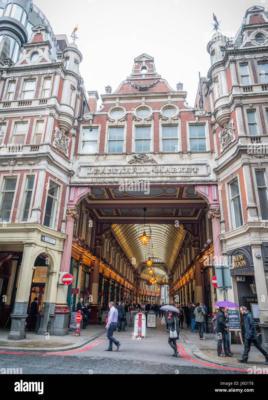 Leadenhall Market ist eine Markthalle in London, gelegen an der Gracechurch Street Stockbild