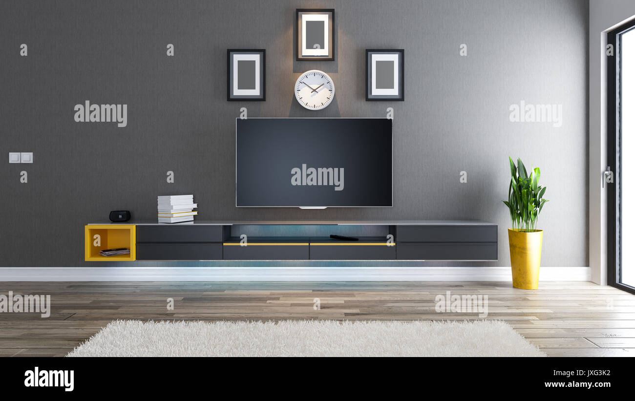tv raum salon oder wohnzimmer mit berdachtem tapete wand anlage und schwarz tv standfu. Black Bedroom Furniture Sets. Home Design Ideas