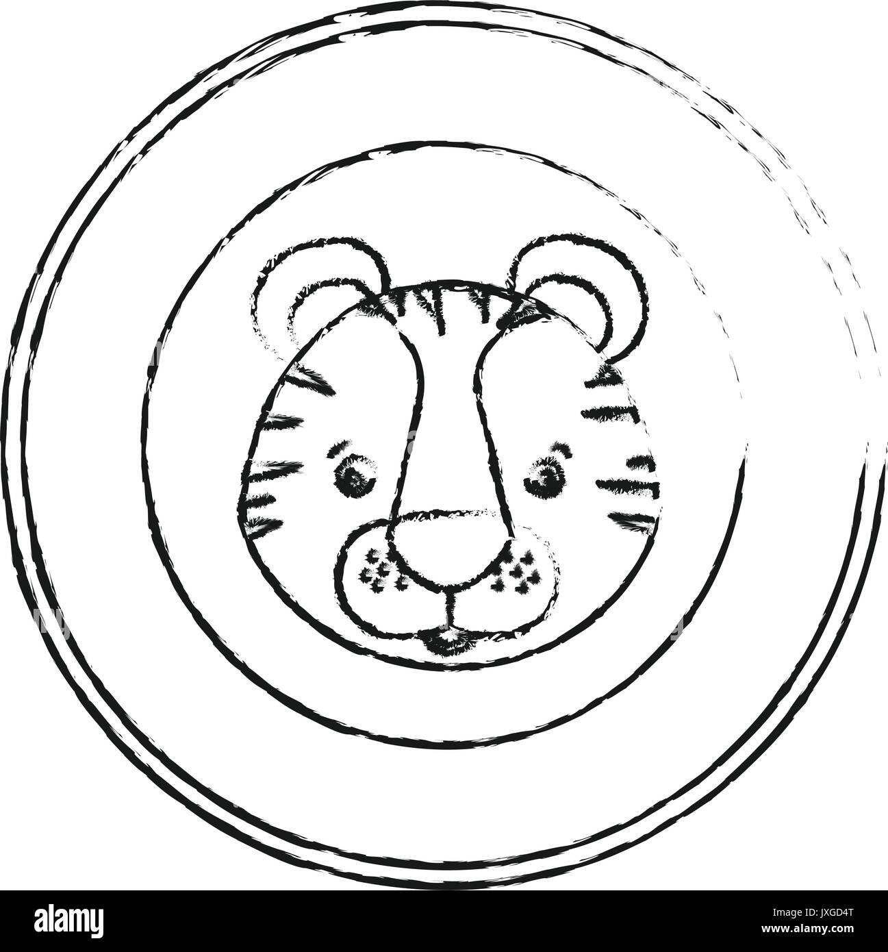 Unscharfe silhouette kreisförmige Rahmen dekorativ und Tiger ...