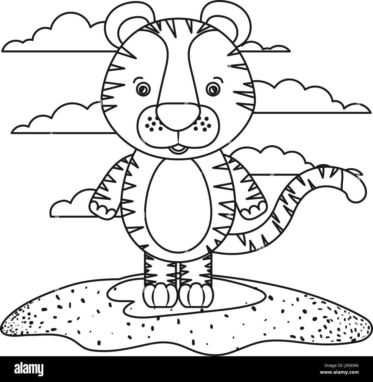 Tiger Outline Stockfotos & Tiger Outline Bilder - Alamy