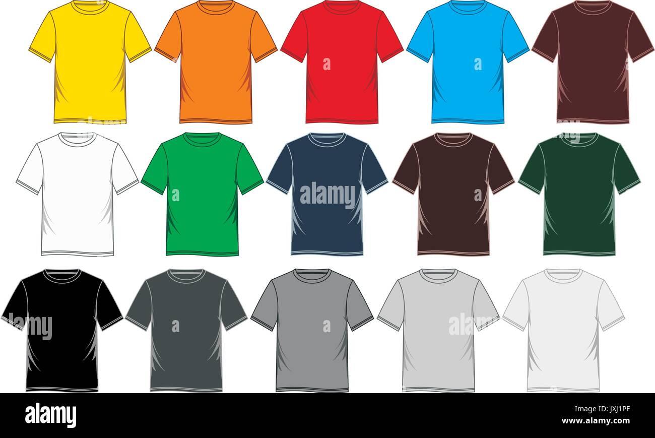 Tee Shirt Template | Vector T Shirt Template Set Stockfotos Vector T Shirt Template Set