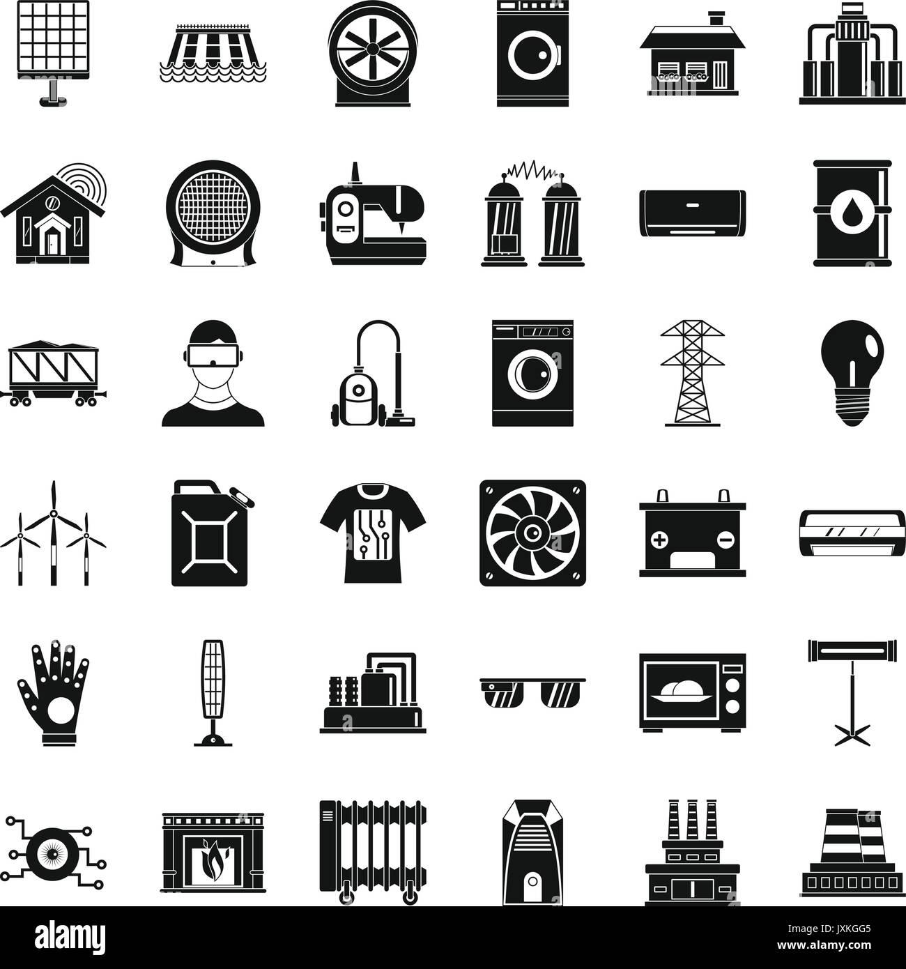 Elektrotechnik Symbole gesetzt, einfachen Stil Vektor Abbildung ...