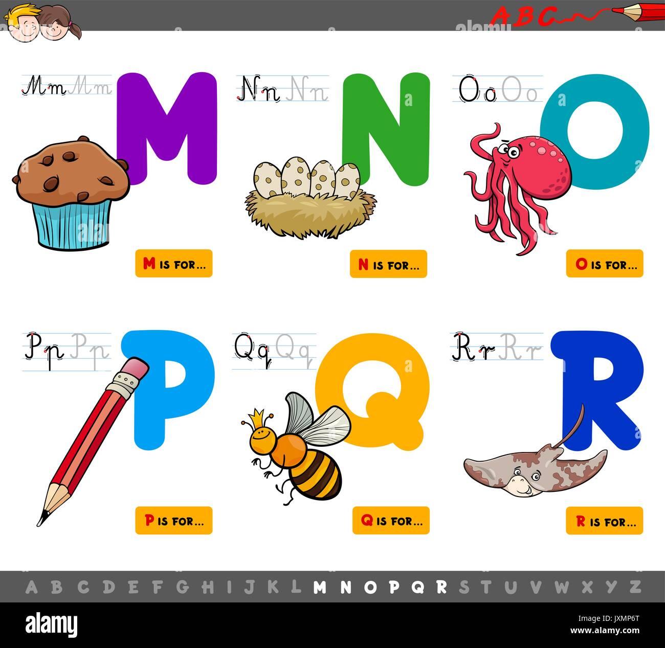 Cartoon Illustration von Großbuchstaben Alphabet Bildungs- Set für ...