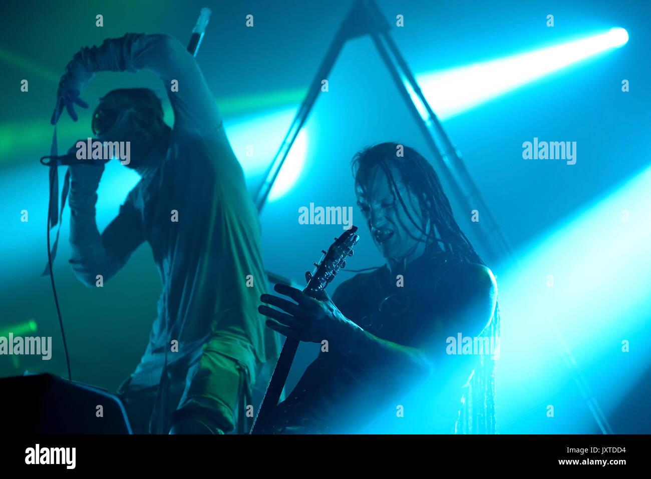 BARCELONA-JUN 1: Skinny Puppy (industrial Musik Band) im Konzert an Primavera Sound Festival 2017 durchführen und am 1. Juni 2017 in Barcelona, Spanien. Stockbild