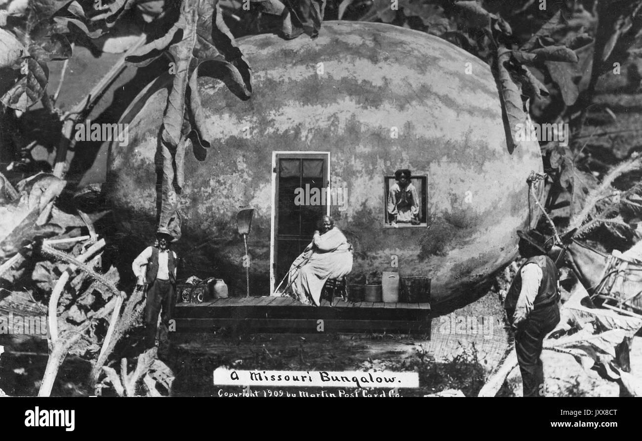 Eine Rassisch Voreingenommenen Darstellung Einer Wassermelone