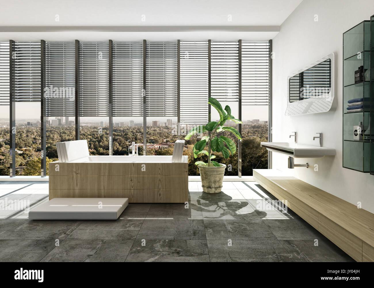 Elegante Luxus Badezimmer Einrichtung mit Designer rechteckige Wanne ...
