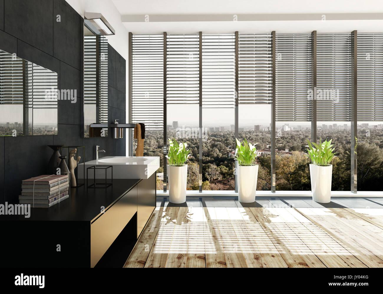 Geräumige, moderne Einrichtung mit großen schwarzen Badezimmer ...