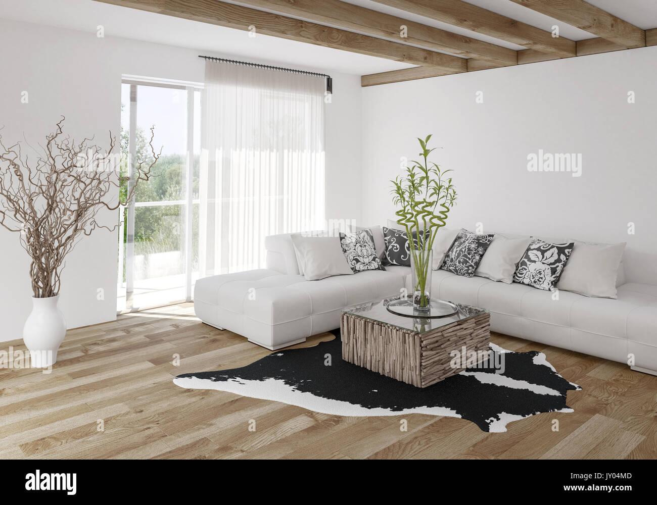 Holzfußboden Wohnzimmer ~ Modern hell und luftig stilvolles wohnzimmer mit holzbalken und
