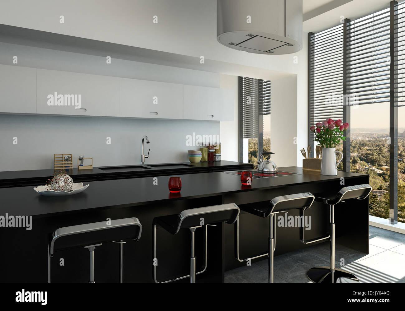 3D-gerenderte stilvolle moderne schwarze Balken Zähler in einer ...