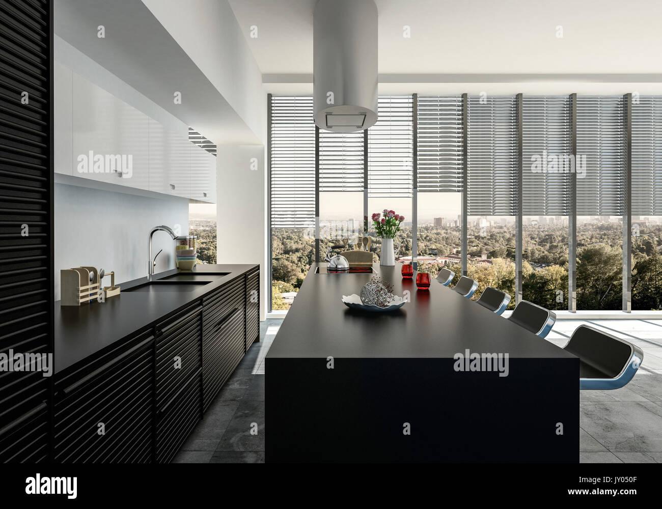 Stilvolle offene schwarze und weiße Einbauküche mit Geräten und bar ...