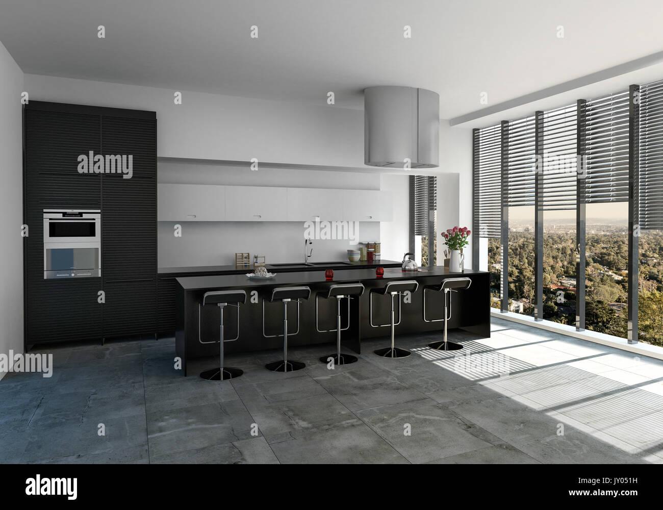 Geräumige, moderne einfarbig schwarze und weiße Einbauküche mit ...