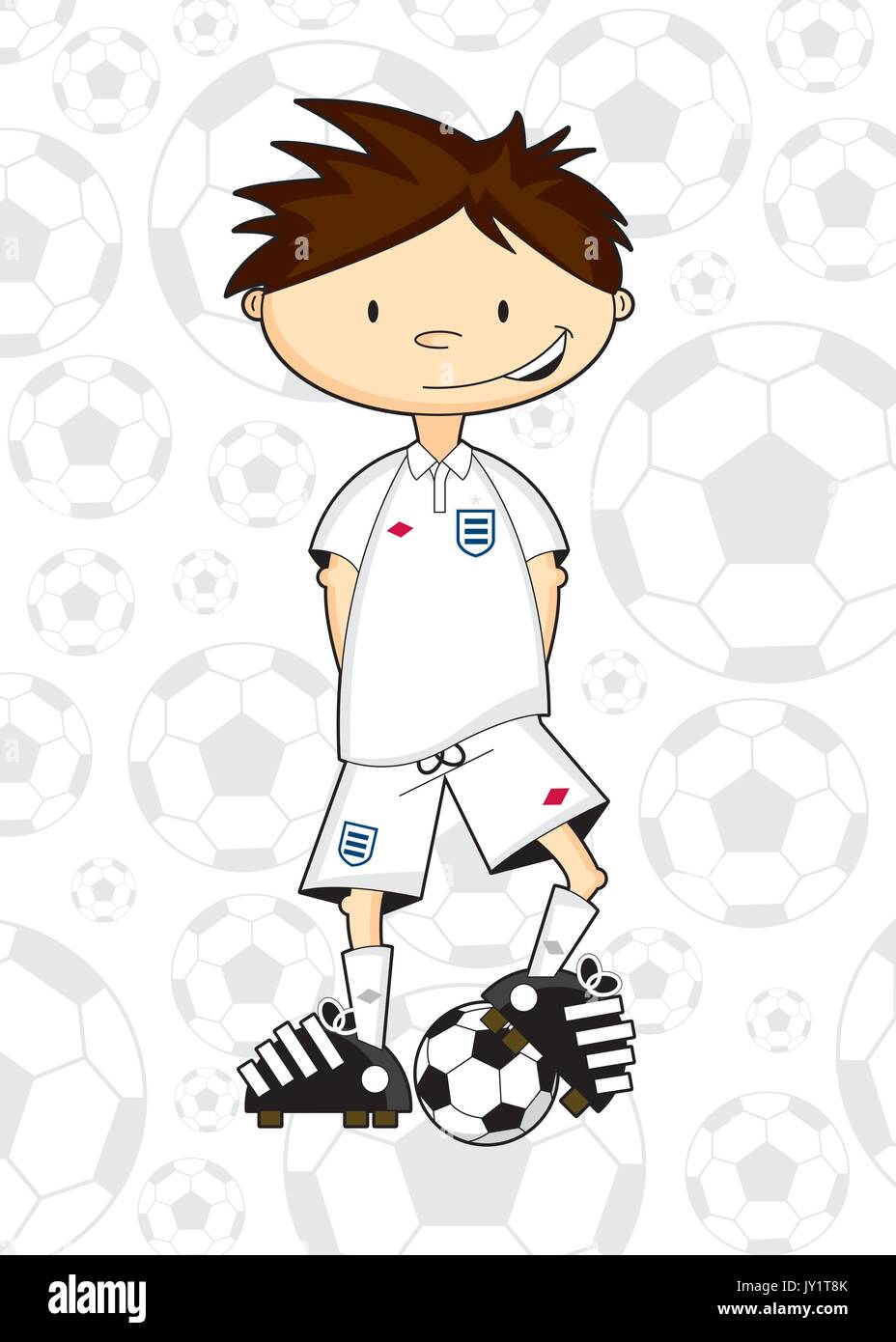Cute Comic Fussball Fussballspieler Vektor Abbildung Bild