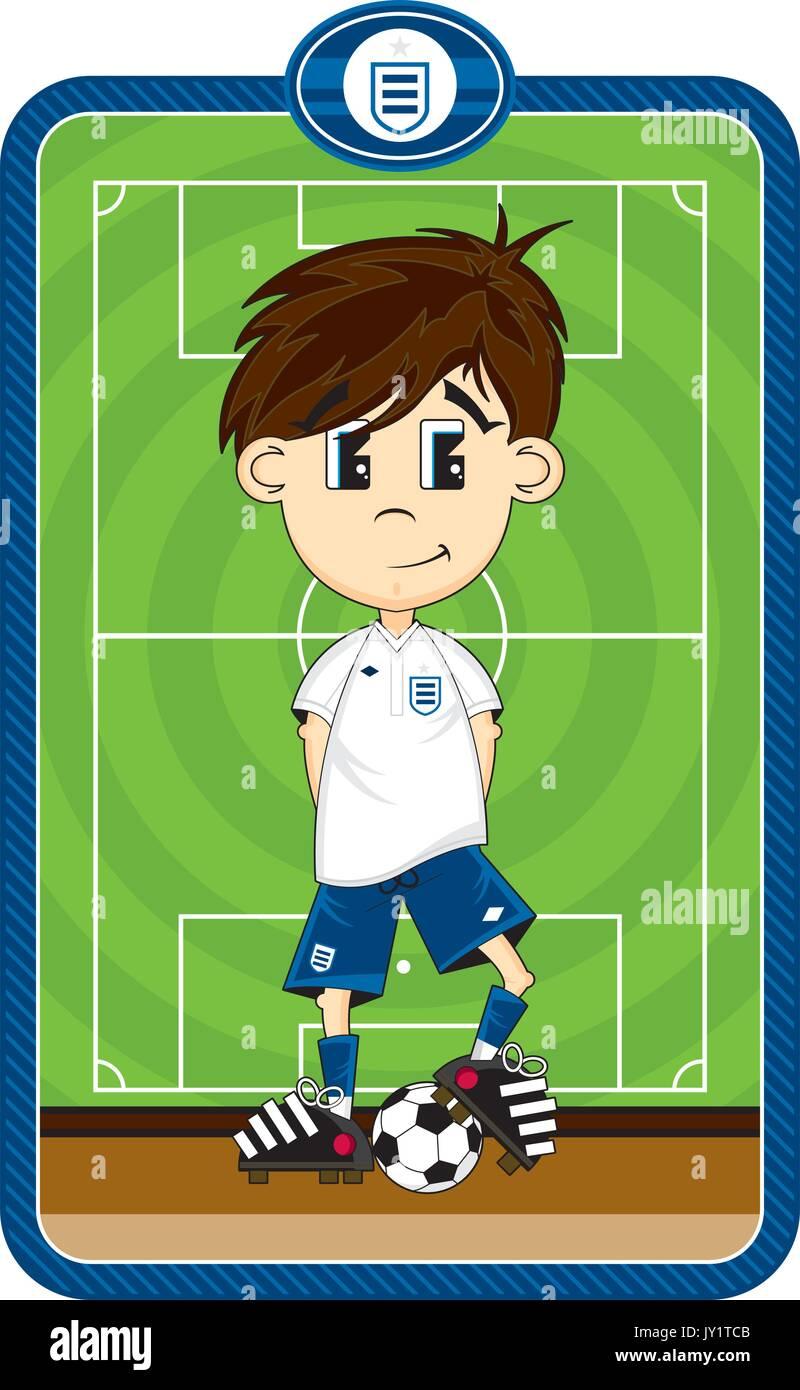 Cute Comic Fussball Fussballspieler Vector Illustration Vektor