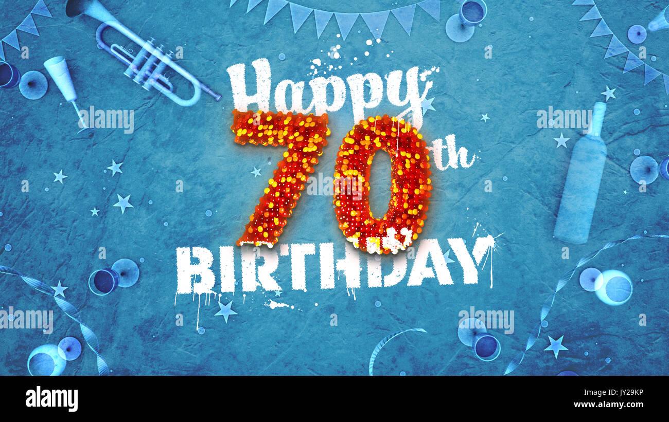 Happy 70th Birthday Card Mit Schonen Details Wie Flasche Wein Champagner Glaser Garland Wimpel Sterne Und Konfetti Hintergrund Blau Rot