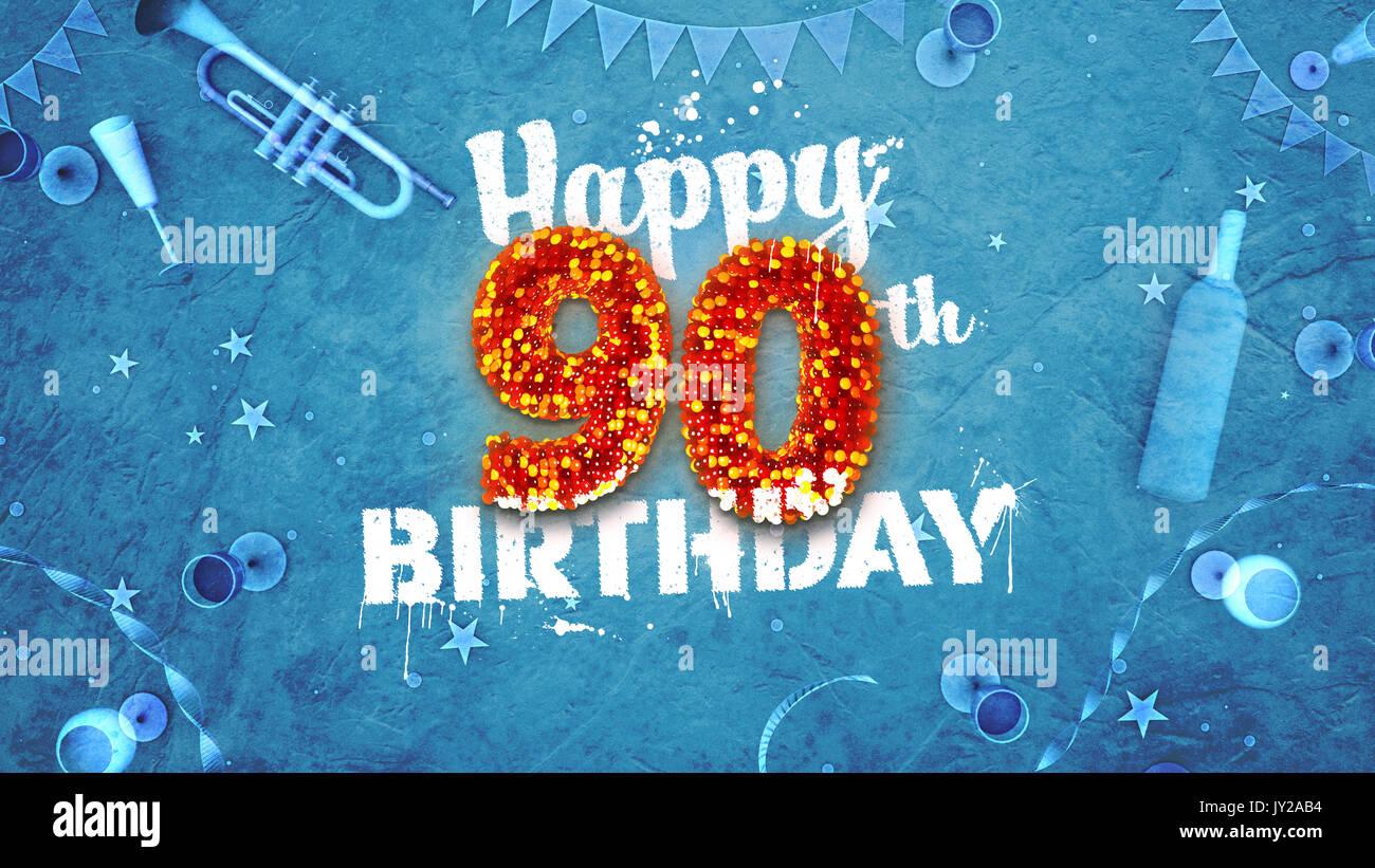 Happy 90th Birthday Card Mit Schonen Details Wie Flasche Wein Champagner Glaser Garland Wimpel Sterne Und Konfetti Hintergrund Blau Rot