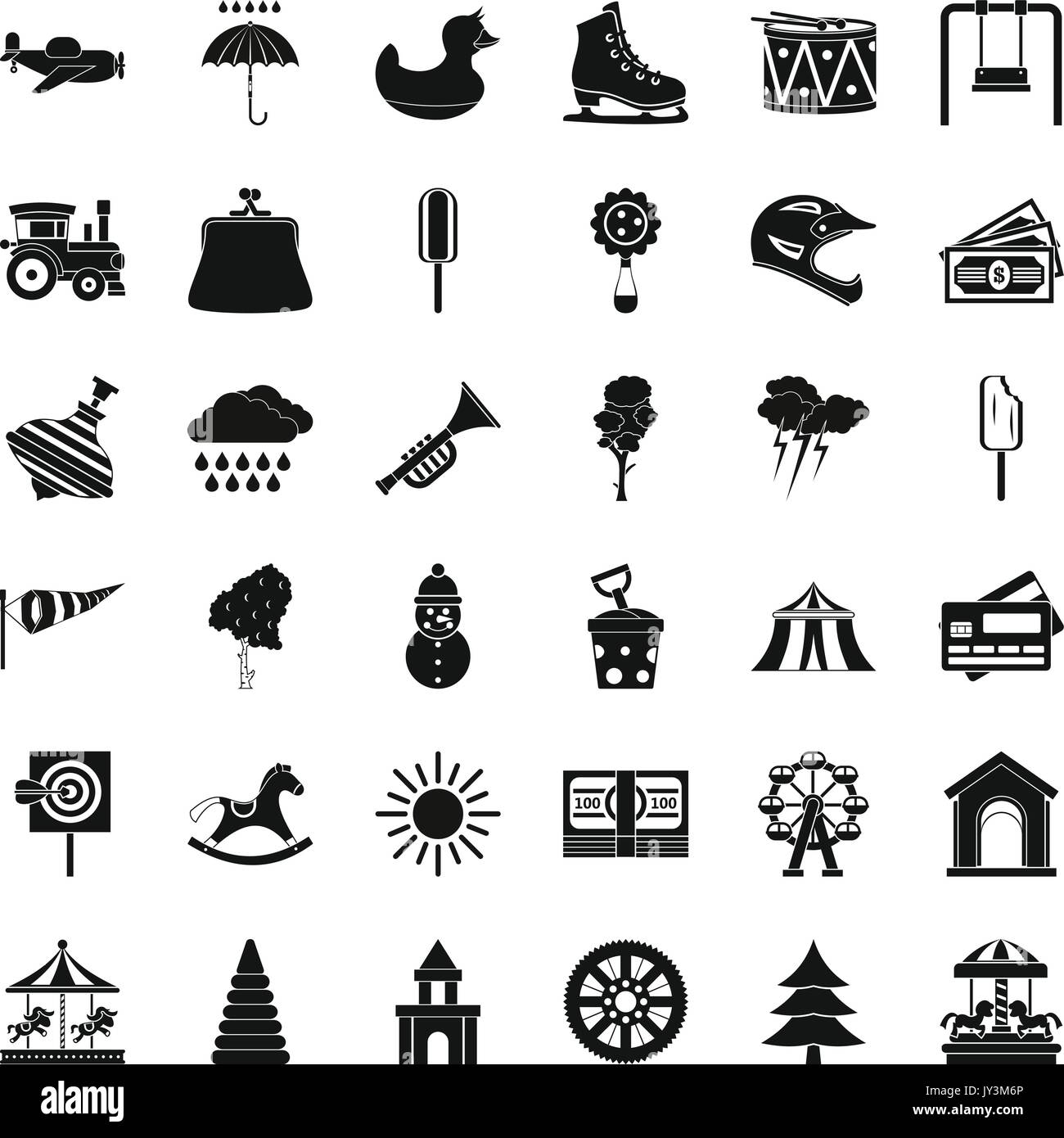 Kinder schloss Symbole gesetzt, einfachen Stil Vektor Abbildung ...