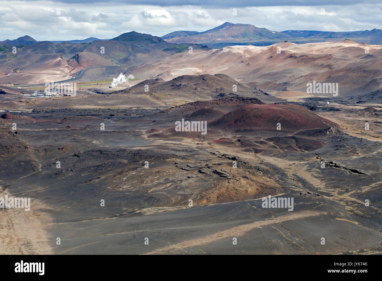 Blick Richtung Namafjall Ridge aus Hverfjall Krater Stockbild