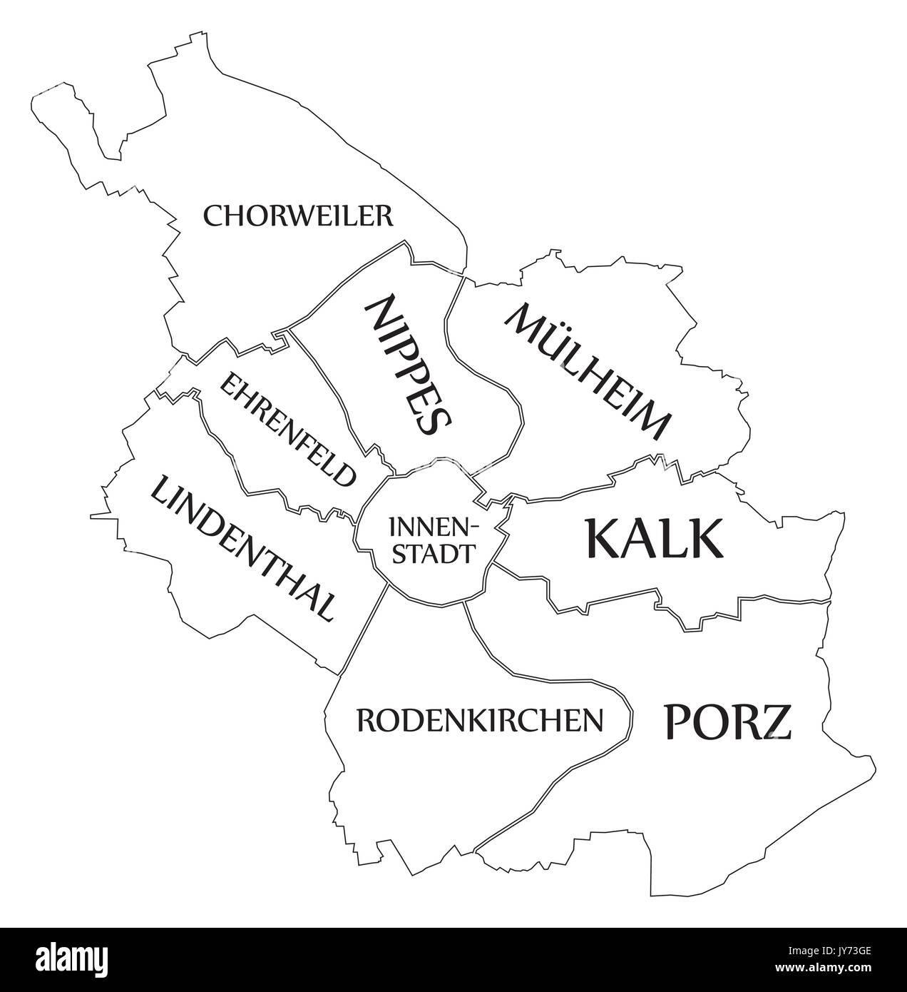 Köln Karte Deutschland.Moderne Karte Köln Stadt Deutschland De Vektor Abbildung Bild