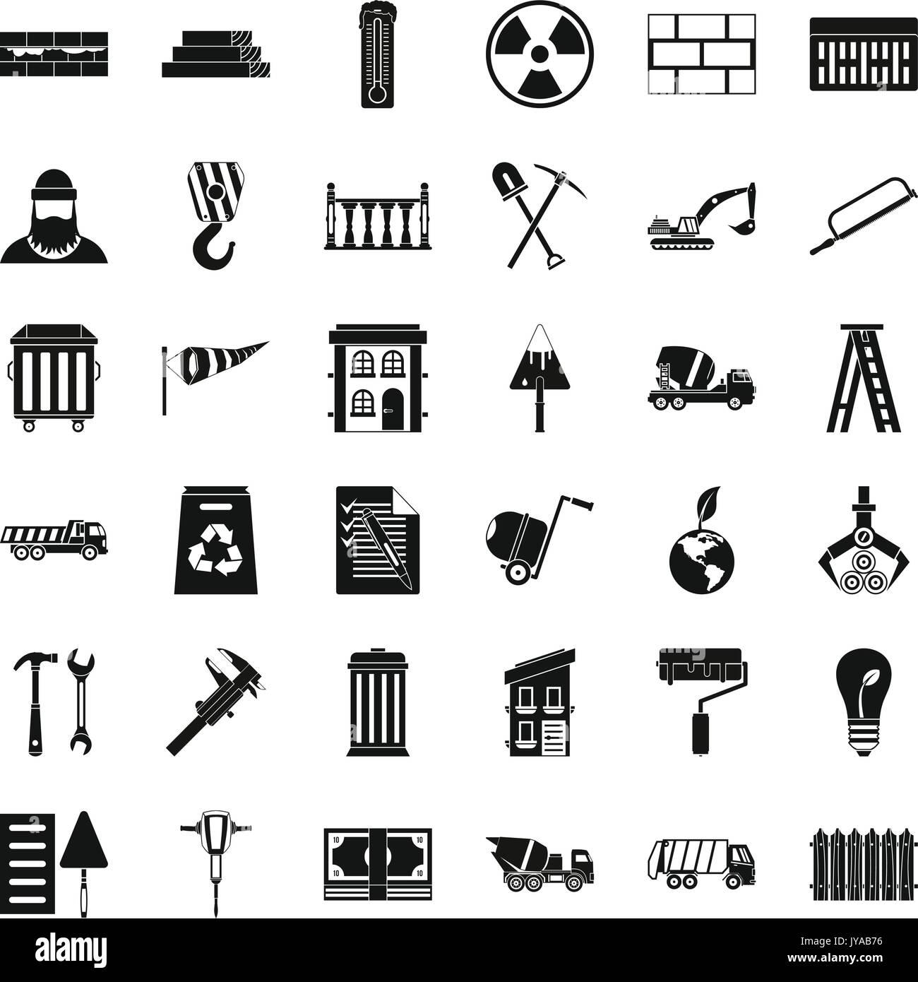 Bauarbeiten Symbole gesetzt, einfachen Stil Vektor Abbildung - Bild ...
