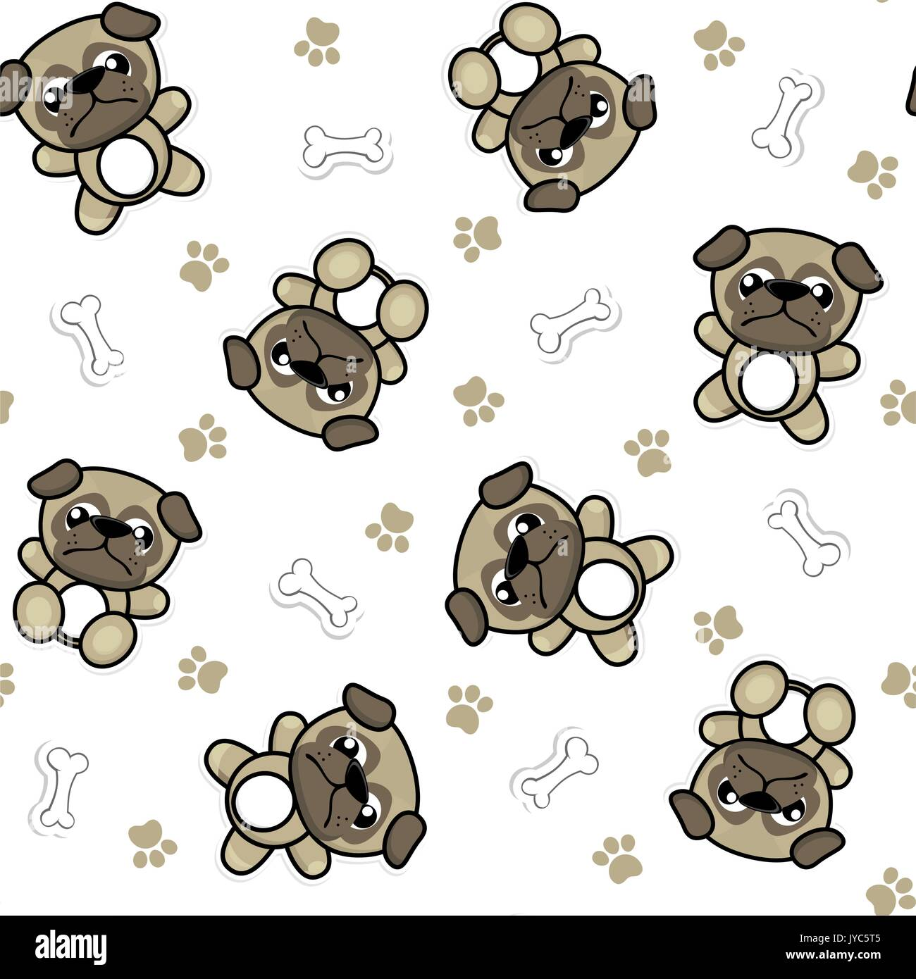 Nahtlose Muster Der Lustige Baby Mops Hunde Und Welpen Elemente Die