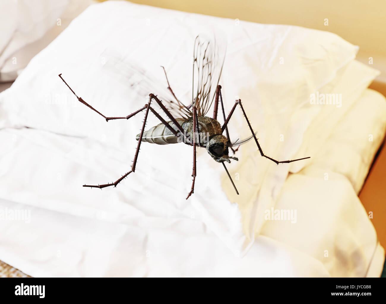 Fliegende Mücken im Schlafzimmer. 3D-rendering Konzept Stockfoto ...