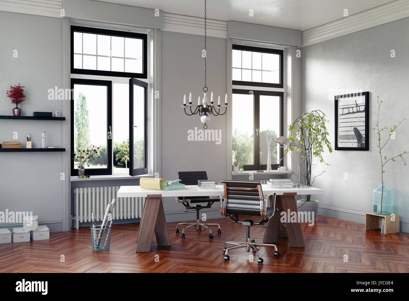 Moderne Zimmer mit Tisch und Sesseln. 3D Rendering Stockbild