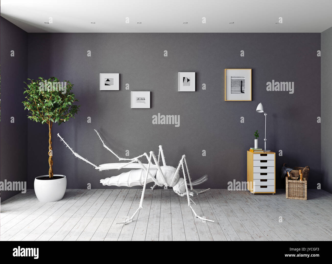 3d Foto Fußboden ~ Die weiße mücke auf dem fußboden im wohnzimmer d konzept