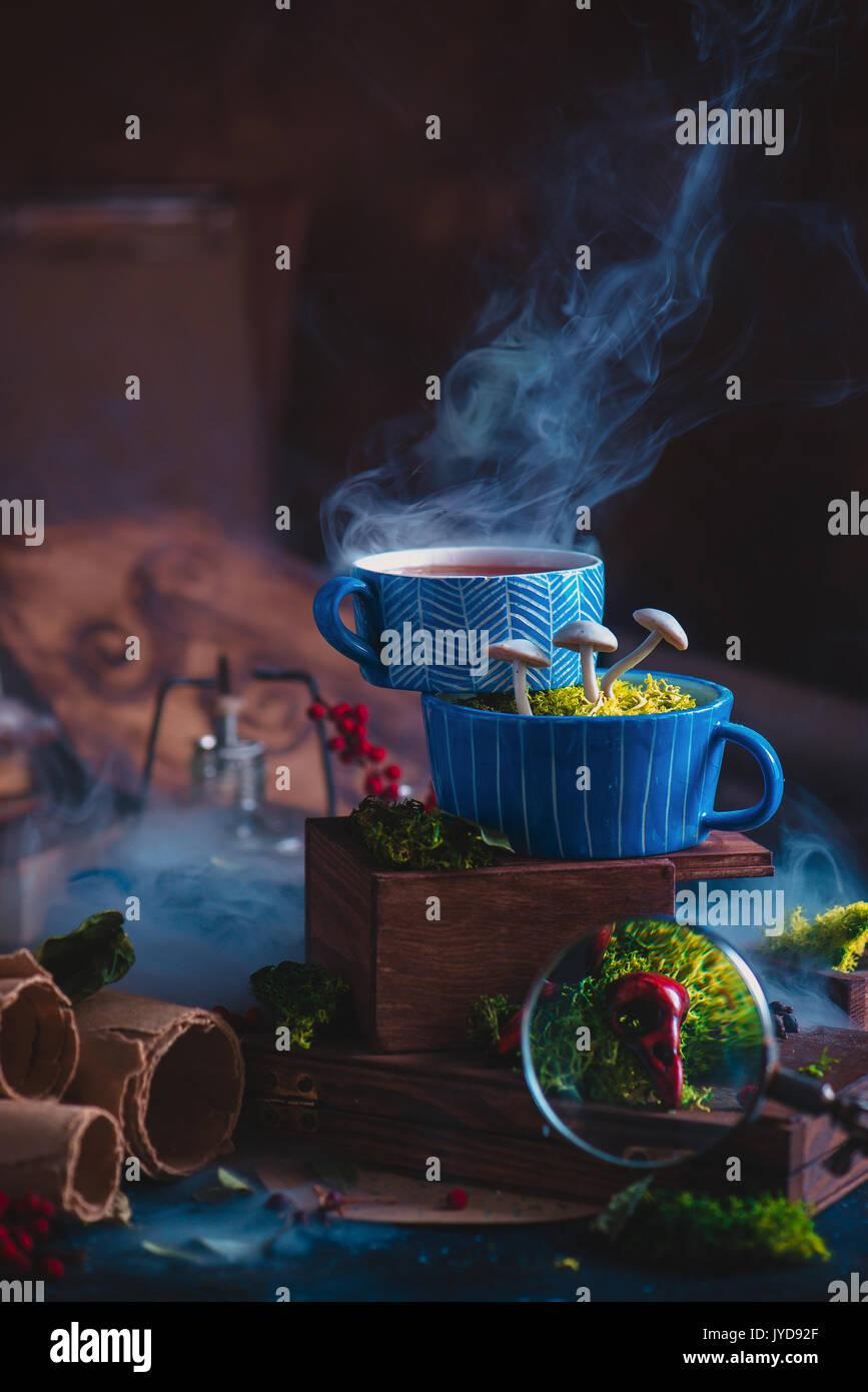 Keramik Tassen Tee mit Pilzen in einem Assistenten Arbeitsplatz. Magie noch Leben mit Rauch, Schriftrollen, Vogel Schädel und Lupe. Stockbild