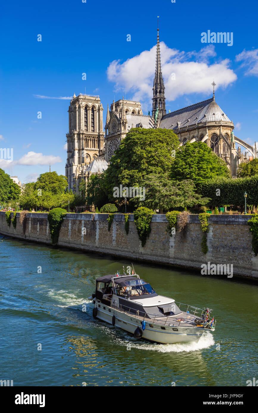 Notre Dame de Paris Kathedrale und der Seine im Sommer. Paris, Frankreich Stockbild
