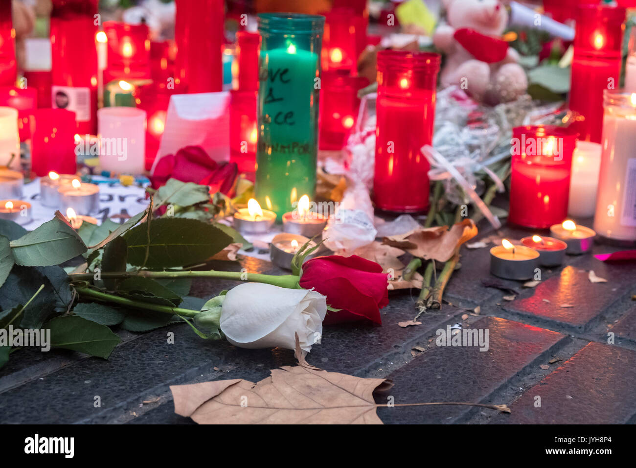 Barcelona, Spanien. 19 Aug, 2017. Am 19. August 2017 die Stadt Barcelona erlitt die ISIS Terroranschlag mit Insgesamt 13 Tote und Hunderte verletzt. Die Stadt war ein Beispiel für die Großherzigkeit, mit der die Opfer und der Brüderlichkeit mit der muslimischen Bevölkerung. Barcelona Jubel in die ganze Welt: Wir sind keine Angst! Credit: Miguel Galmés/Alamy leben Nachrichten Stockbild