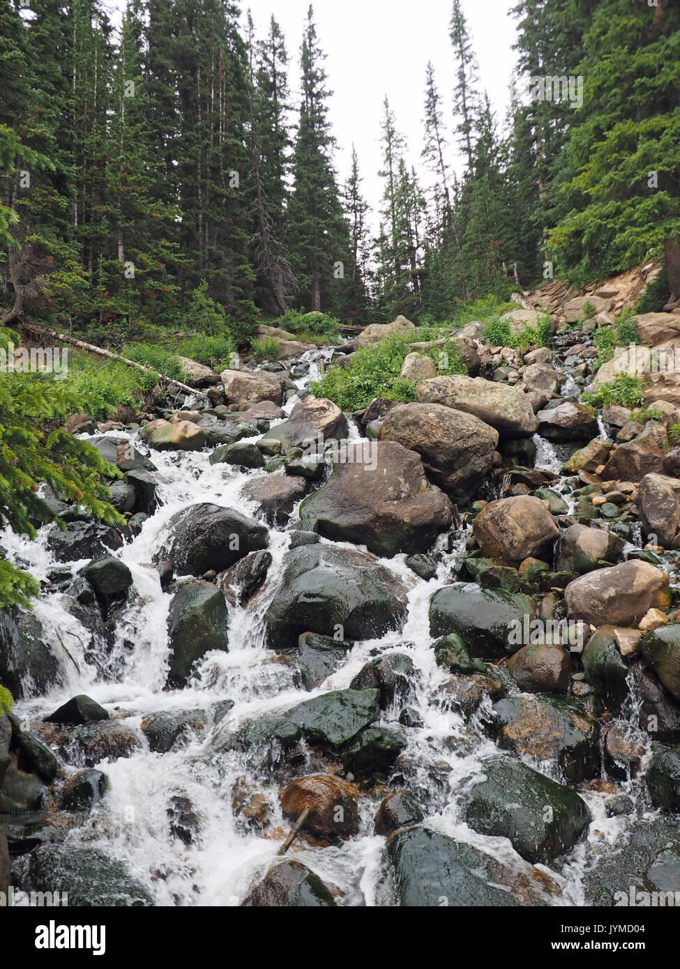 Kleiner Wasserfall über Felsen in den Rocky Mountains in Colorado Stockbild
