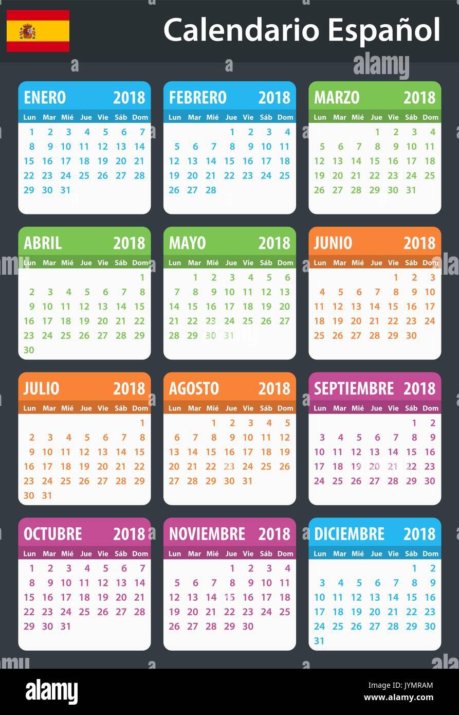 Spanisch Kalender für 2018. Scheduler, Agenda oder Tagebuch Vorlage ...