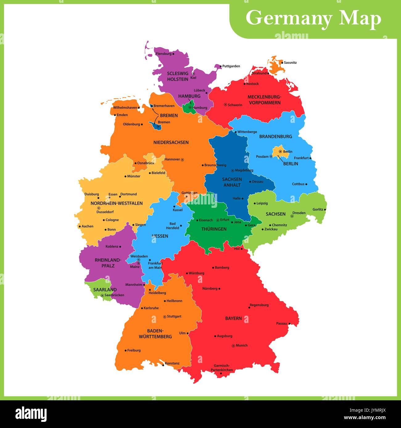 Die Detaillierte Karte Der Deutschland Mit Regionen Oder Staaten
