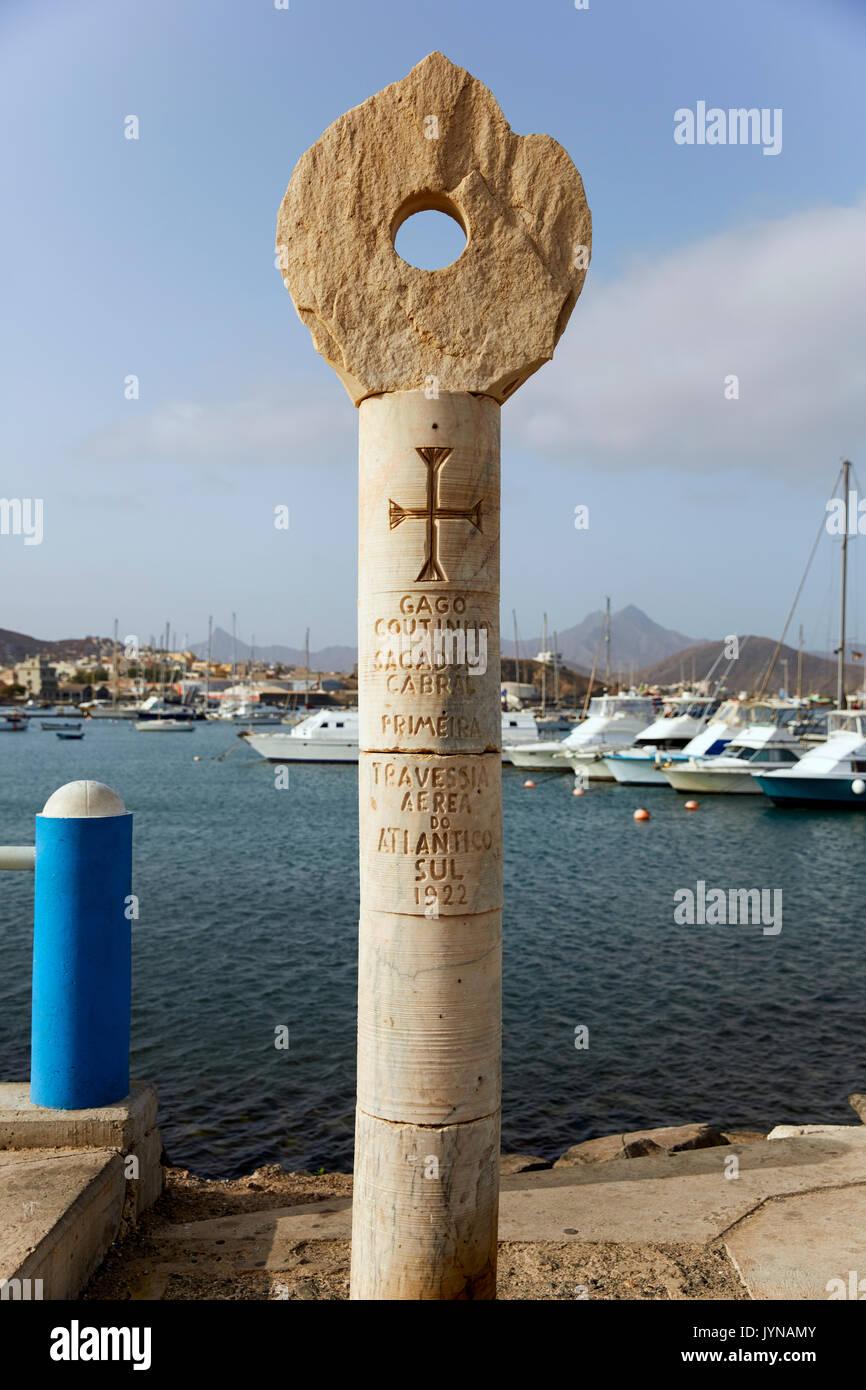Primeira Travessia Aerea Do Atlantico Sul Denkmal, Mindelo, Sao Vicente, Kap Verde (Cabo Verde), Afrika Stockbild