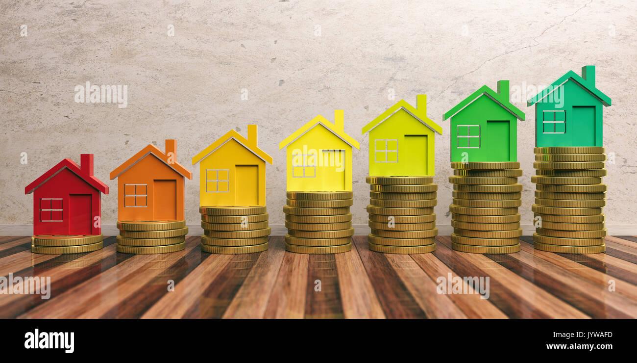Energieeffizienz und Geld sparen Konzept in Bau. 3D-Darstellung Stockbild