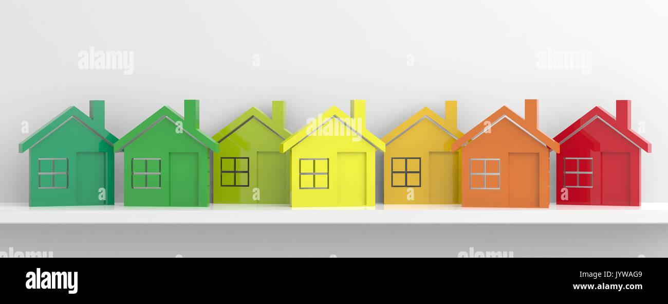 Häuser und Energieeffizienz Konzept. 3D-Darstellung Stockbild