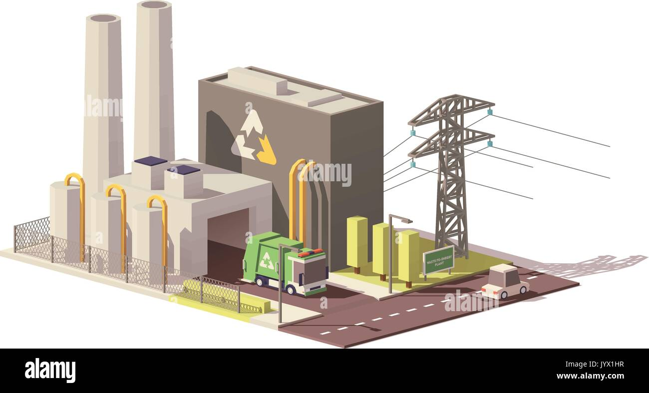 Astounding Vektor Low Poly Waste To Energy Plant Vektor Abbildung Bild Wiring Cloud Hisonuggs Outletorg