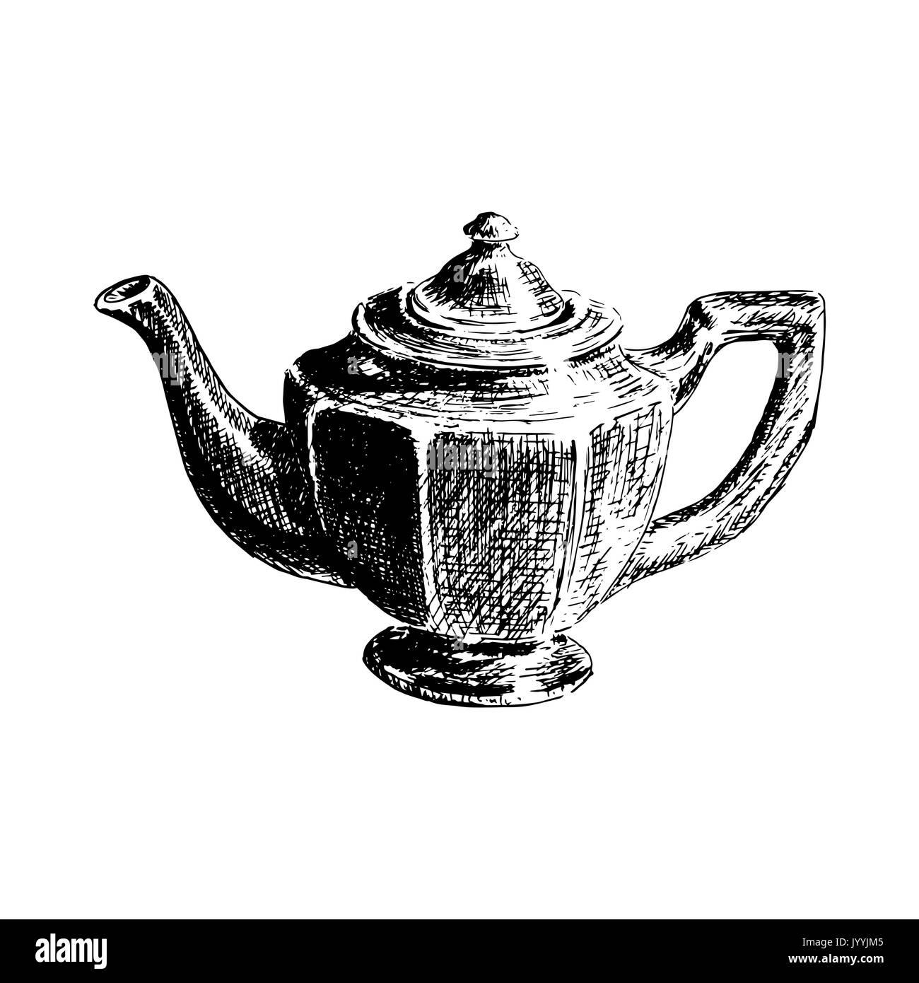 Grafik Hand gezeichnet Teekanne auf weißem Hintergrund ...