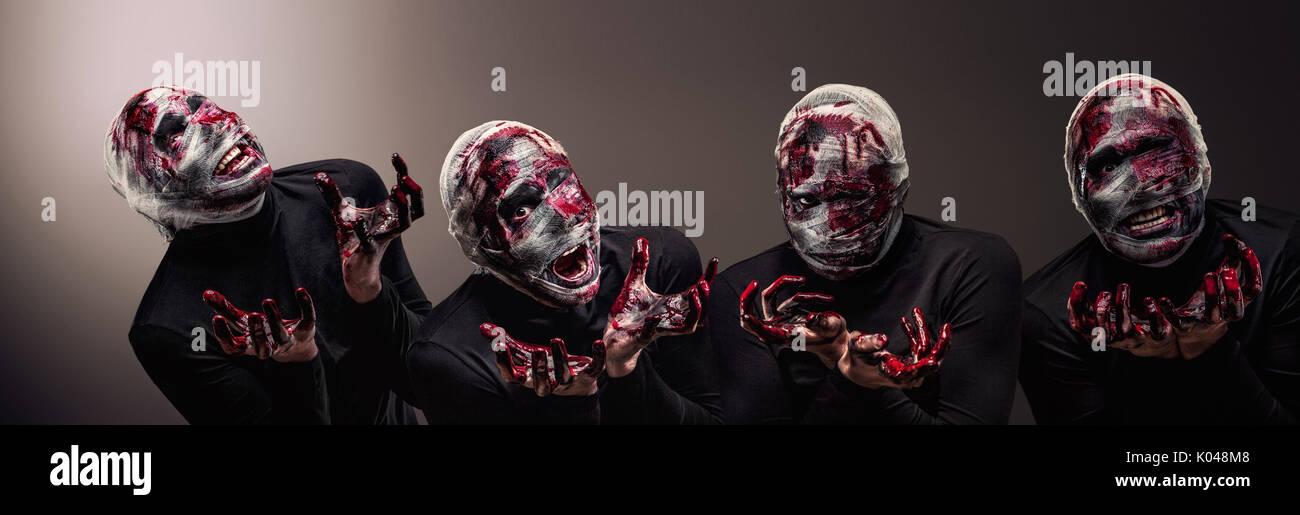Einen dramatischen Wandel von einer gruseligen Halloween-Lich mit blutigen Verband in dunklen Lord Voldemort. Stockbild