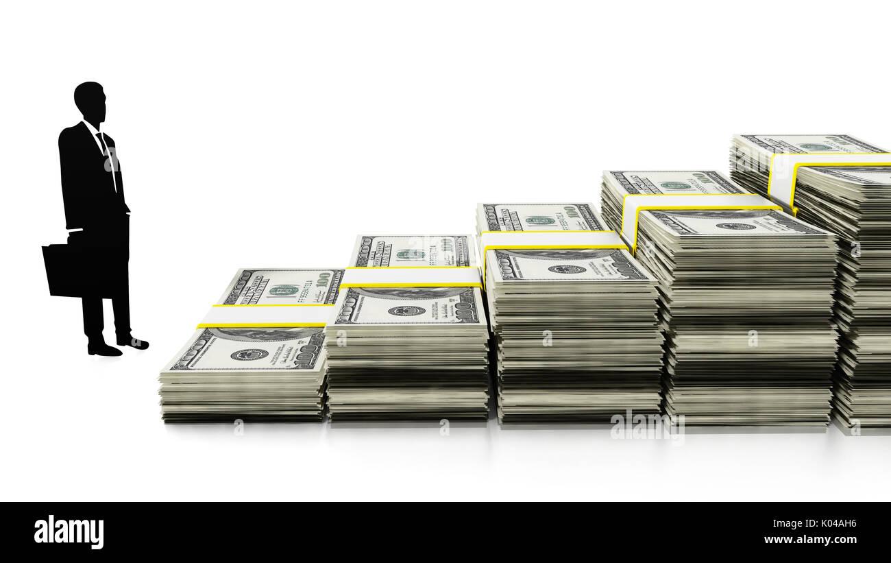 Silhouette der Geschäftsmann von Dollar Treppe bilden. 3D-Darstellung. Stockbild