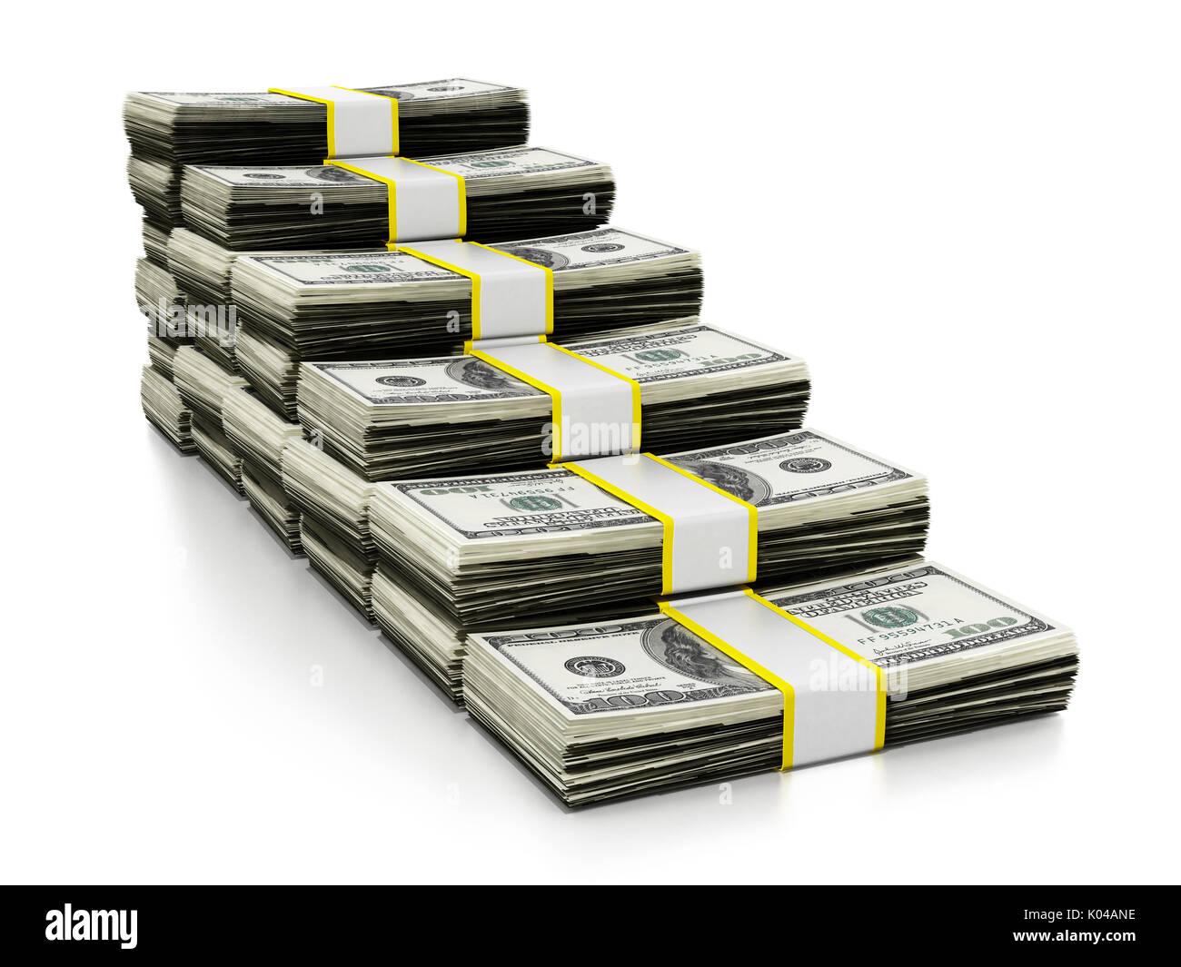 Viele Dollar bilden eine Treppe. 3D-Darstellung. Stockbild