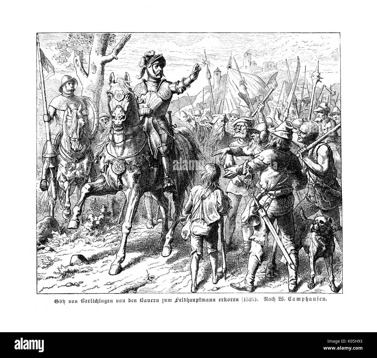 Götz von Berlichingen ist von den Bauern als Feldhauptmann Datum: 1525 gewählt Stockbild