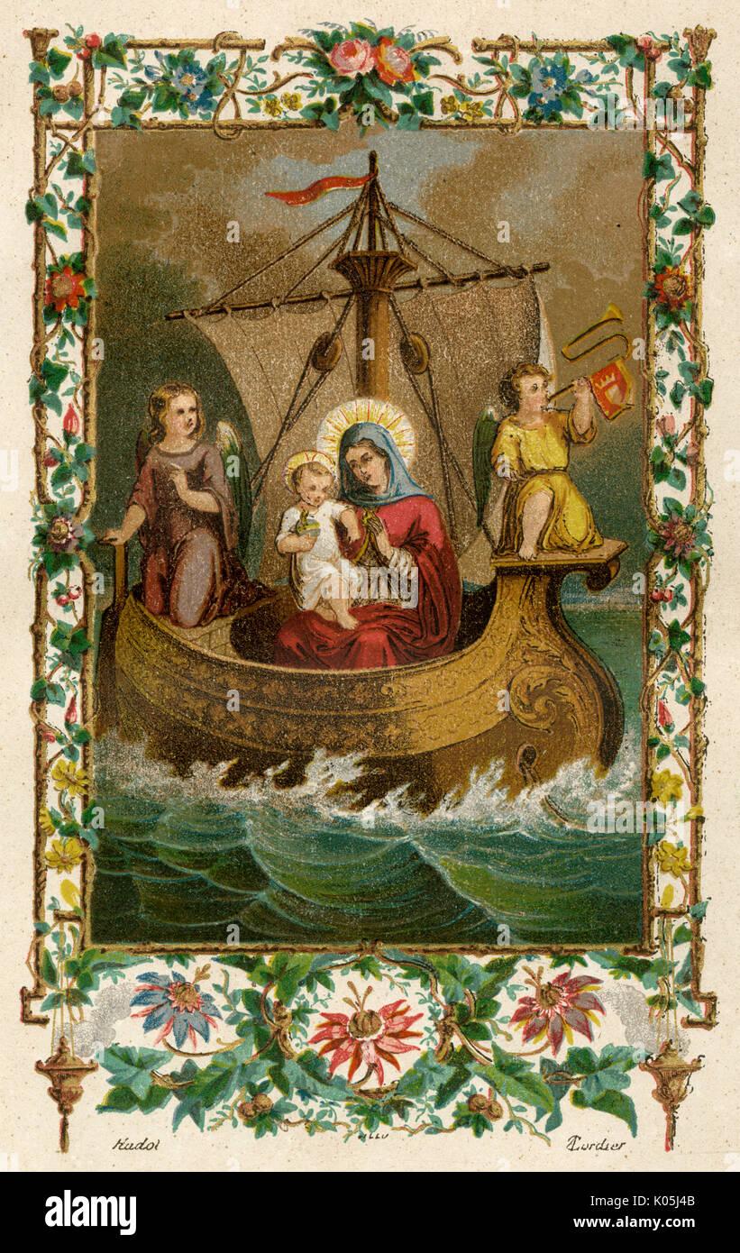 NOTRE DAME DE BOULOGNE Der Hafen von Boulogne (Frankreich) ist überrascht, als eine Statue der Jungfrau mit dem Kind auf mysteriöse Weise in einem offenen Boot Datum eintrifft: 633 Stockbild