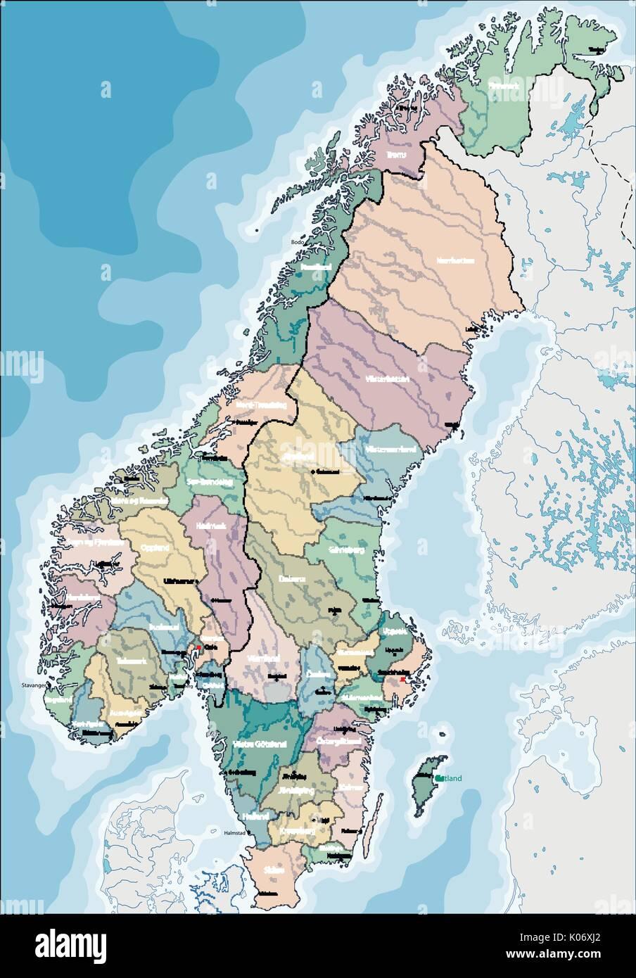 Karte Norwegen Schweden.Karte Von Norwegen Und Schweden Vektor Abbildung Bild 155045914