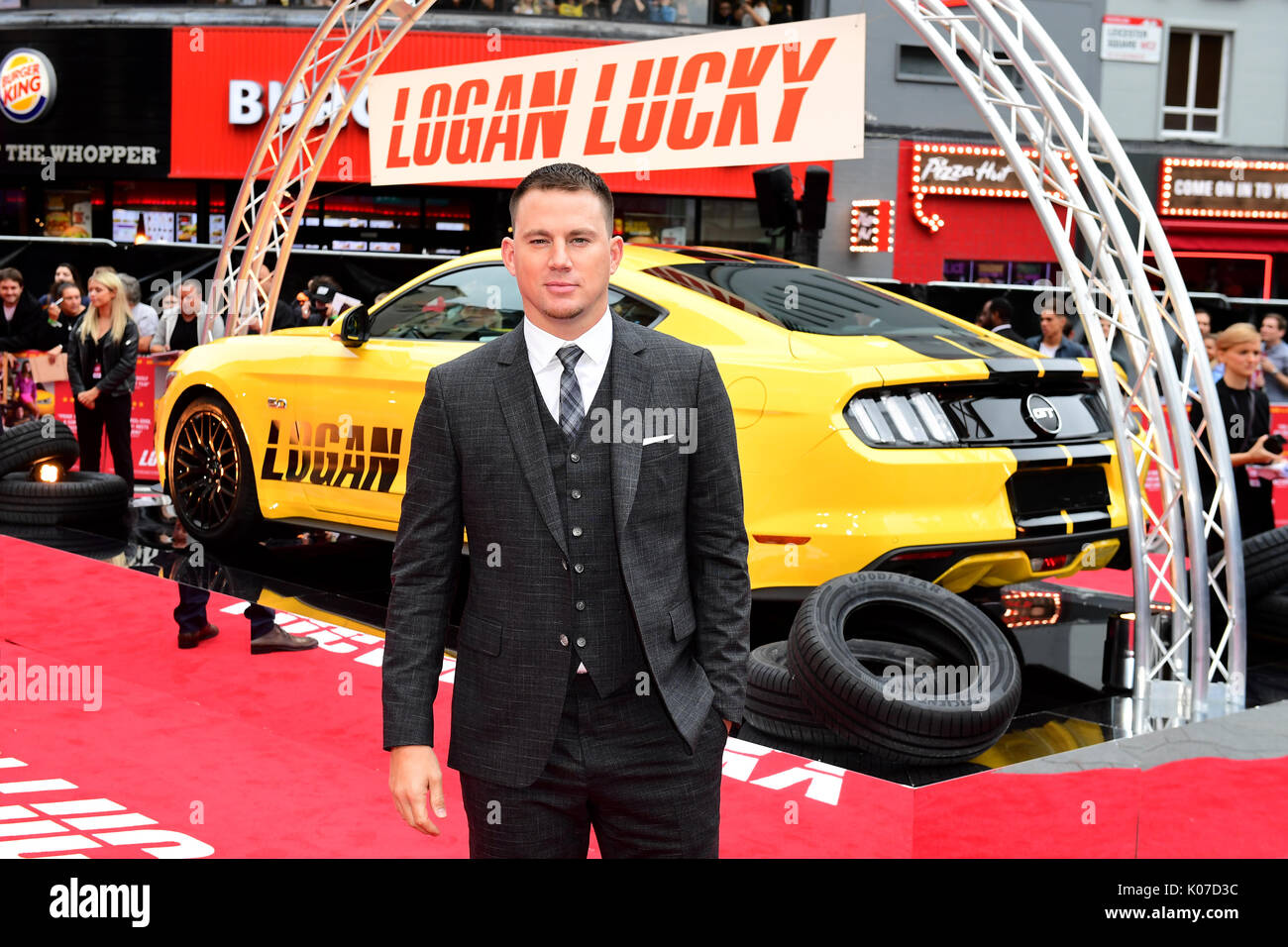 Channing Tatum Teilnahme an der Logan Lucky UK Premiere auf der Vue West End in Leicester Square, London statt. Stockfoto