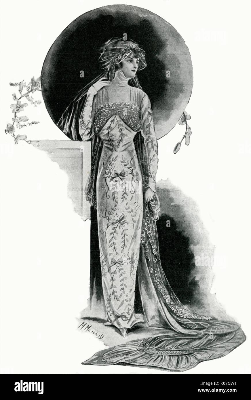 Ein exquisites Beispiel für ein Brautkleid in peau de Soie, verwoben ...